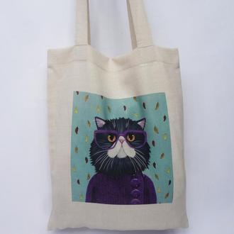 Эко-сумка кот, сумка-шоппер, тканевая сумка, авоська