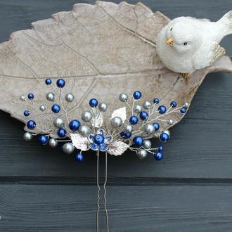 Серебристо-синяя шпилечка. Керамический жемчуг.
