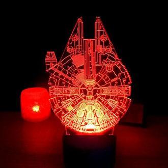 Сокол тысячелетия, ночник светильник детский, лампа, на батарейке, подарок мальчику, другу, декор