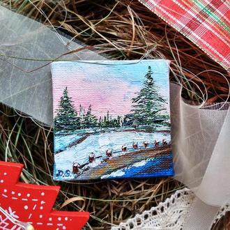 Зимний пейзаж (миниатюра), новогодний сувенир