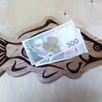 Деревянная монетница