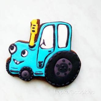 """Пряник """"Голубой трактор""""."""