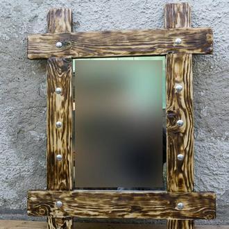 Зеркало-вешалка из искусственно состаренного массива