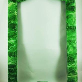 """Эксклюзивная каменная рама для зеркала или картины """"Малахит"""""""