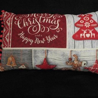 Новогодняя подушка декоративная 50х30 см