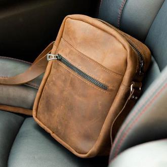 Мужская кожаная сумка из натуральной кожи  Revier идеальный подарок на любой повод