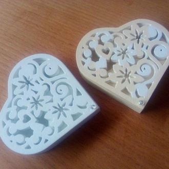 Шкатулка сердце, шкатулка для колец, коробочка для колец