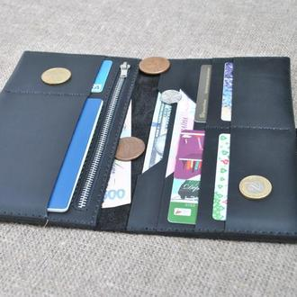 Большой кошелек из черной кожи K83-0