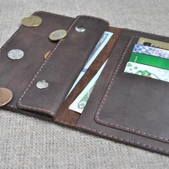 Темно-коричневый кошелек из винтажной кожи K09-450
