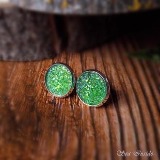 Серьги-пуссеты Зеленый кристалл