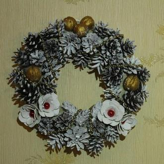 """Рождественский праздник""""каменный венок ручной работы"""