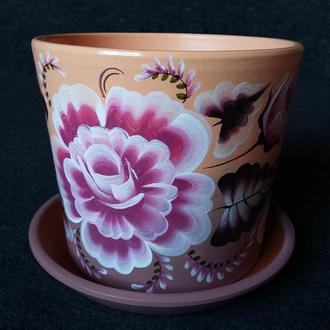 Керамический горшок для цветов, ручная роспись