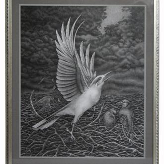 """Картина """"Птица"""", графика"""