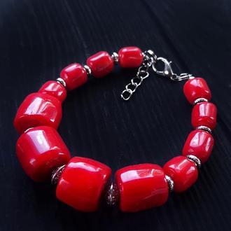 Браслет з великими натуральними коралами браслет из коралла красный коралловый браслет