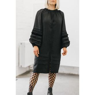 Плаття чорне з мереживом та оксамитом