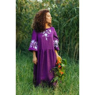 Плаття фіолетове з вишивкою