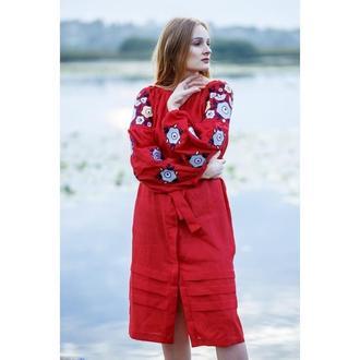 Плаття червоне з пташками