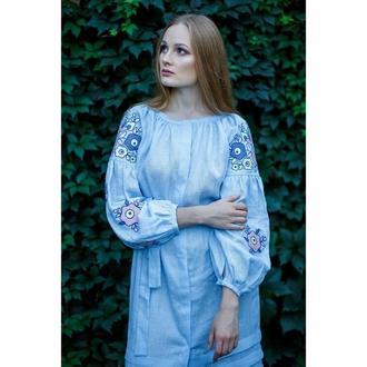 Плаття блакитне з пташками