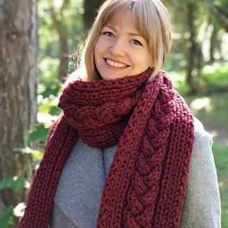 "Вязаный шарф с бахромой ""Косы"""
