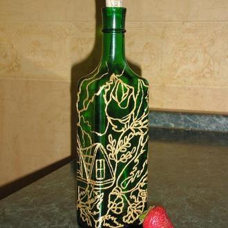 Винная бутылка,витражная роспись.