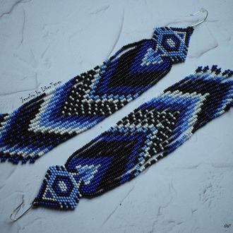 Серьги из бисера, этнические серьги, серьги с бахромой, длинные серьги из бисера, сережки із бісеру