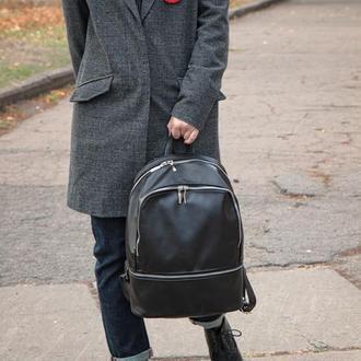 Стильный кожаный городской рюкзак (унисекс)