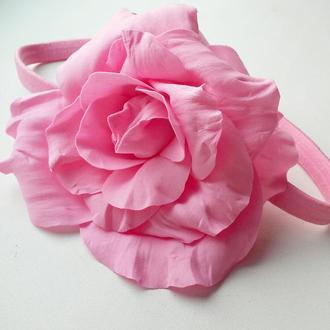 Ободок-резинка для волос с розой