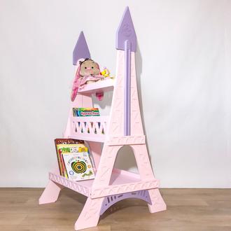 Стеллаж для книг и игрушек детский Eiffel Tower (Paris, France), (Pink), Дерево, Коллекция Princess