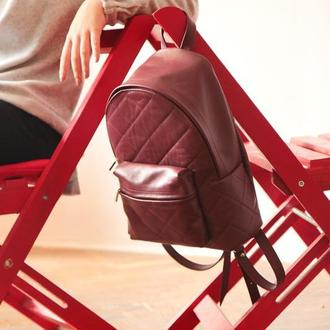Кожаный рюкзак цвет марсала (городской)
