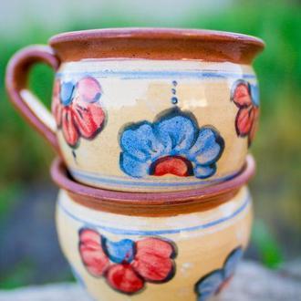 Чашка гончарная роспись ангобом