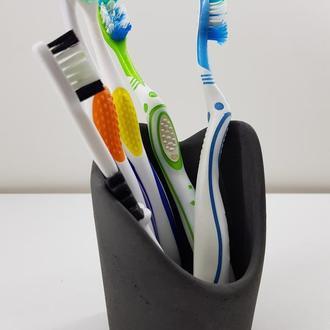 Стакан для зубных щеток из бетона - черный