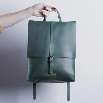 Кожаный рюкзак./ IN01002 зеленый