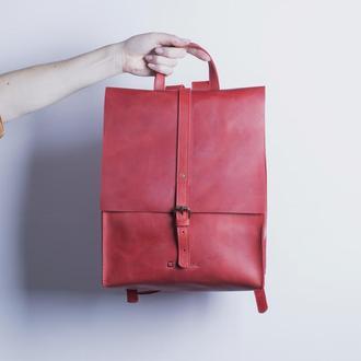 Кожаный рюкзак./ IN01002 красный