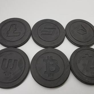 Набор подставок под чашку криптовалюты из бетона - черные