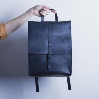 Кожаный рюкзак./ IN01002 синий