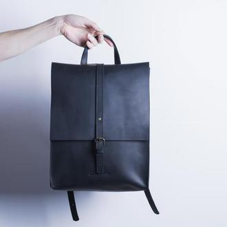 Кожаный рюкзак./ IN01002 черный