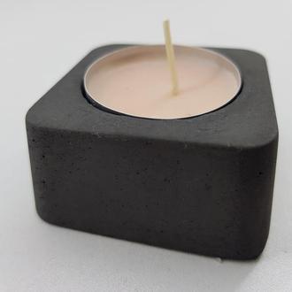 Підсвічник з бетону - чорний (квадрат)