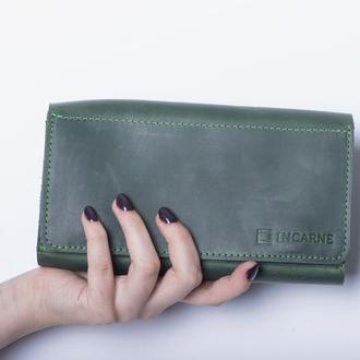 Кожаный кошелек./ IN08002 зеленый