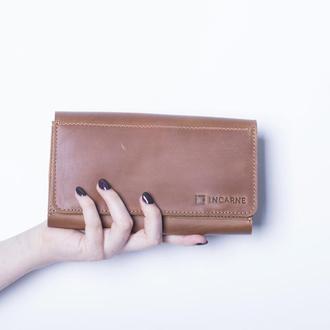 Кожаный кошелек./ IN08002 коньяк