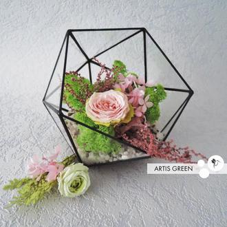 Флорариум «Pink rose» со стабилизированным мхом и розочкой