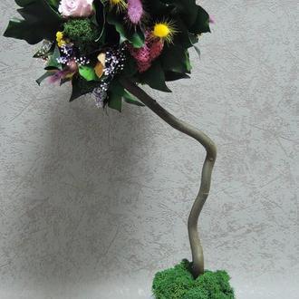 Эко-дерево из стабилизированных роз и растений, 45 cm