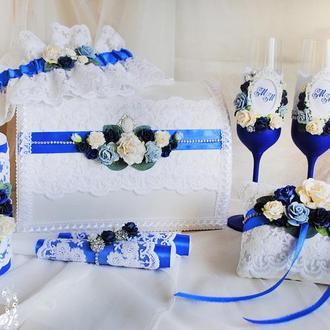 Свадебный набор синий / Синій набір для весілля / Бокали / Казна / Подушечка / Свечи / Подвязка