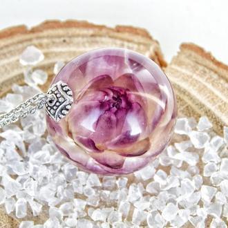 Подвеска с цветком гелихризума, Фиолетовый кулон с сухоцветом, Подарок для девушки, Для мамы