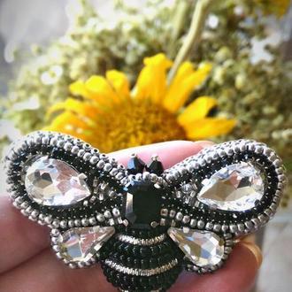 Брошь Серебряная пчела
