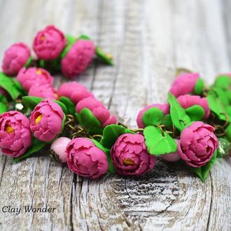 Браслет с пионами из полимерной глины, розовый браслет, цветочный браслет