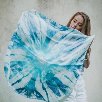 Атласный платок  с цикадами, голубой платок, шовкова хустка