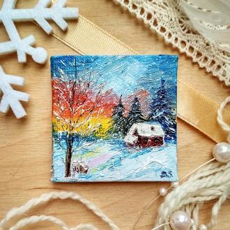 Зимний закат (миниатюра)