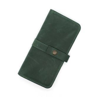 Кошелек-портмоне из натуральной кожи зеленый crown