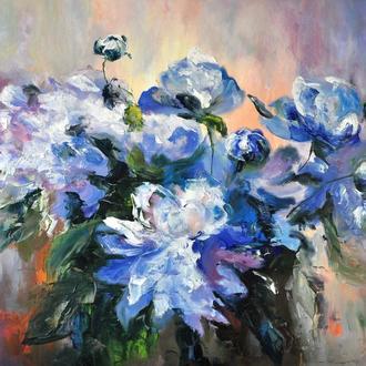 """Картина маслом """"Пионы в сиянии"""", 60х80 см импрессионизм цветы пионы живопись"""