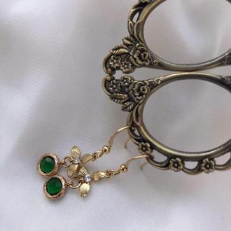 Серьги для невесты Свадебные серьги с кристаллами ручной работы Золотые серьги вечерние